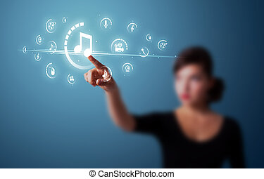 Businesswoman pressing virtual media type of buttons