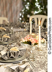 Christmas dinner table in pink and grey