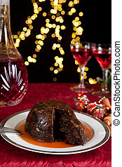 Brandy and pudding - Christmas dinner table with xmas...