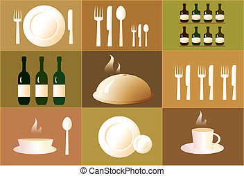 set of objects for restaurant - set of objects for the...