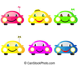 set of woman cars - Colorful set of cute emotional woman...