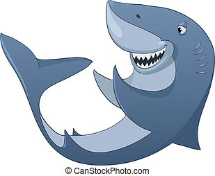 Cartoon Character Shark Isolated on White Background....