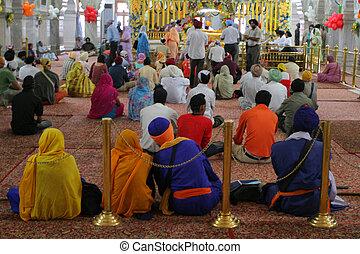 DELHI, INDIA - SEPTEMBER 6: Colourful interior of Sikh...