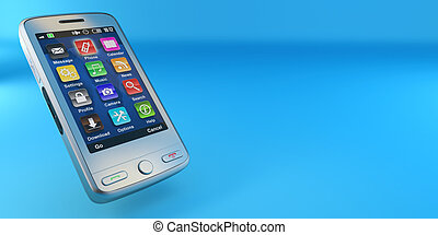 Metallic mobile phone on blue background. 3d