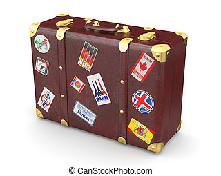 Brown leather suitcase with travel stickers. 3d
