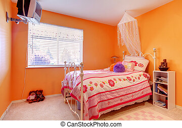 Orange girls bedroom with Tv and bed