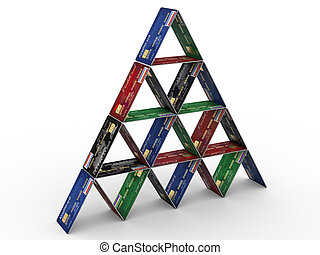 Pyramid from credit cards on white isolated backgrond 3d