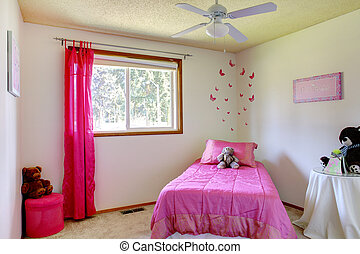 Pink and white girls bedroom with bears