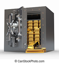 Stack of golden ingots in bank vault 3d