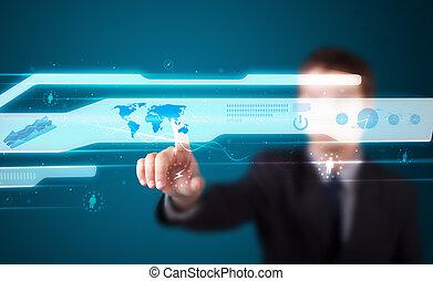 üzletember, nyomás, magas, tech, gépel,...