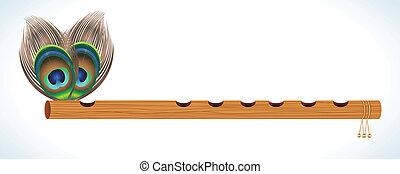 abstratos, madeira, Flauta, pavão