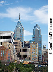 Philadelphia cityscape with skyscraper landmark