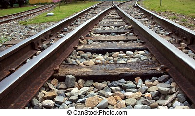 Vintage Railroad Tracks - Rusty old railtrack junction with...