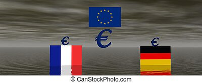 euro - flags and euro blue and yellow