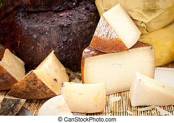 Cheese at a market - Different sorts of Italian cheese at a...