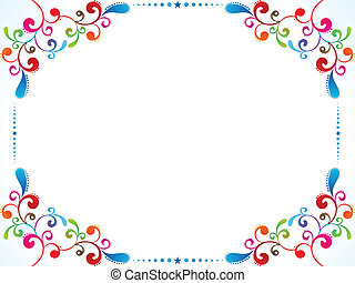 abstract colorful floral border