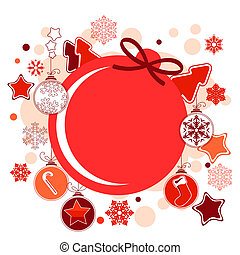 Round Christmas label with hanging balls and stars