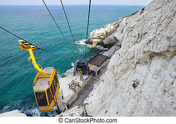 Cableway at Rosh ha-Hanikra - The white chalk cliffs of Rosh...
