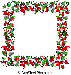 Blank Christmas frame with traditional Christmas symbols