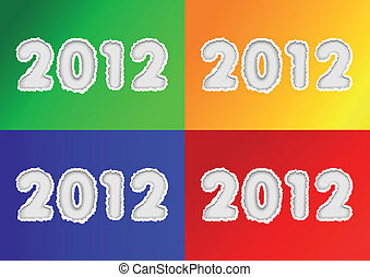2012 Year On Torn Paper