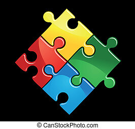 Game puzzle - Pieces of puzzle game for abstract connection...