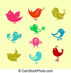 Cartoon doodle birds - Set of cartoon doodle birds icons for...