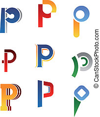 Alphabet letter P - Set of alphabet symbols and elements of...