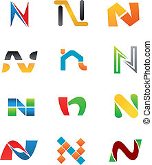 Alphabet Letter N - Set Of Alphabet Symbols And Elements Of...