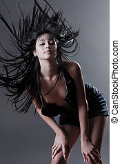 Hair everywhere - Beautiful topless fashion model with wind...