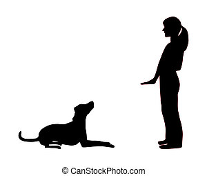 Dog training obedience: command sit down