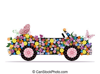 convertible from flowers and butterfly