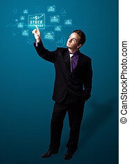 Businessman pressing modern business type of buttons