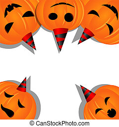 Halloween pumpkins - Vector halloween picture with pumpkins
