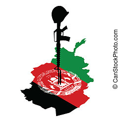 fallen soldier - Isometric map of Afghanistan and rifle of...