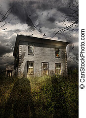 Abandoned house with flying ghosts - Old abandoned house...