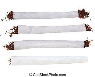 Set cigarette tobacco isolated