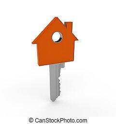 橙, 家, 鑰匙,  3D