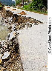 Landslide - Destroyed road landslide damaged in powerful...