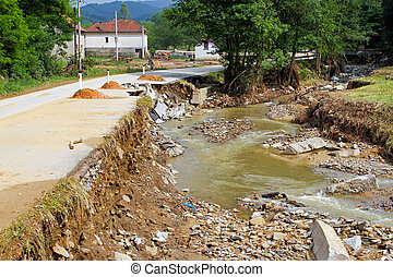 After natural disaster - Side of a local road after natural...
