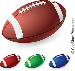 Realistic American football Illustration on white background...