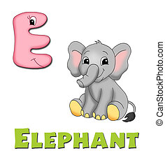 Alphabet, elephant - instructive card with the letter of the...