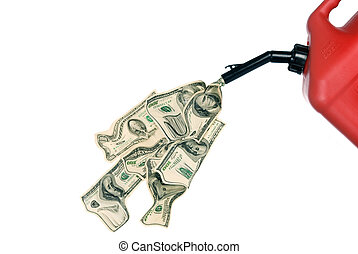 Gas can pouring money - Gas can pouring out hundreds of...
