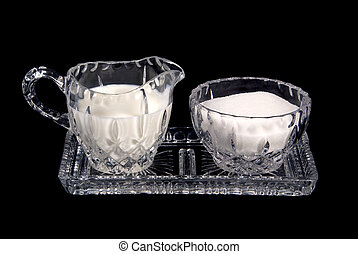Cream and sugar crystal dishes - Crystal serving dishes for...
