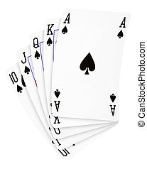 Royal flush playing cards spades, isolated on white