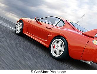 Sports Car - A Red Sports Car Speeding on Blurry Asphalt...