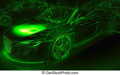 Neon light drawing of the sport car