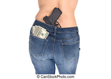 CAsh, woman and gun