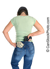 Woman with gun and cash