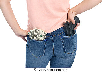 Cash and woman and gun
