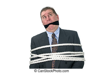 A tied up businessman - A businessman held captive by his...